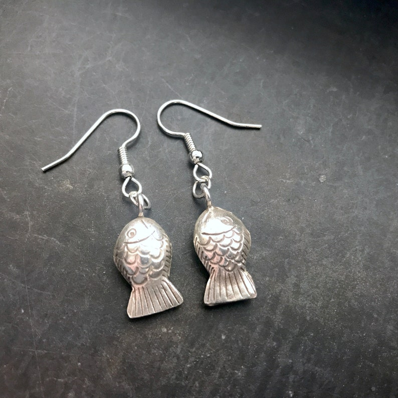 Sterling silver puffed fish earrings image 0