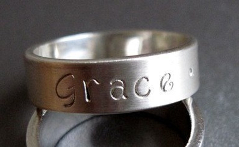 Custom Hand Stamped Sterling Silver Ring Band  6mm wide  image 0