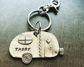 Personalized Vintage Camper Ornament - Necklace - Key Chain - Hand stamped