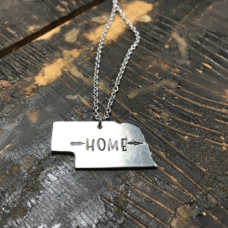 Personalized Nebraska Necklace  Gift for Her  Silver image 0