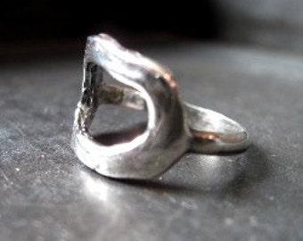 Sterling Silver Organic Circle Ring - Size 7.0 - Silver Ring - Artisan Circle Ring