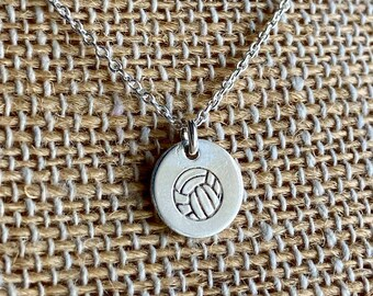 Tiny Sterling Silver Volleyball Necklace