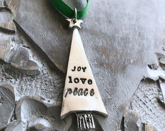 Personalized Ornament/- Christmas Tree Ornament / Christmas Ornament / Holiday Ornament / Hand Stamped / Custom ornament