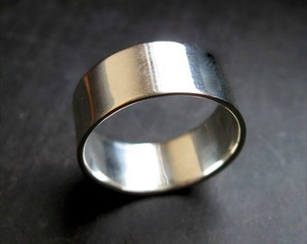 PLAIN Sterling Silver Ring Band - 8mm wide  Size 8