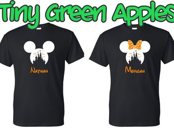 personalized disney castle halloween inspired shirt wname mickey or minnie not so scary halloween party family shirts matching