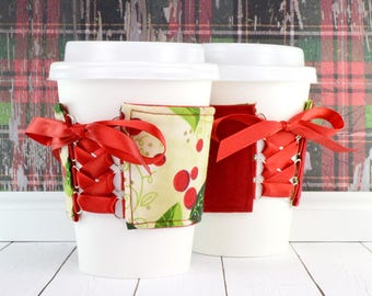 Coffee Cup Cuff // Holly Berry Red Cup Cozy // reversible // adjustable // holiday cup cozy // reusable // eco-friendly // ice cream cozy