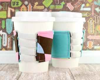 Elastic Cup Cozy // Spots and Stripes Cup Cozy // adjustable // reversible // reusable // sleeve // cold drink cup cozy // beverage cozy