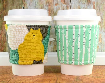 Bear Cup Cozy // Big Sky Grizzly Cup Cozy // reversible // adjustable // cup sleeves // teacher gifts // eco-friendly // reusable // corset