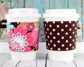 Coffee Cup Cozy // Peace Flowers Cup Cozy // reversible // adjustable // cold drink cozy // ice cream cozy // drink sleeve // reusable