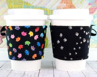 Cat Cup Cozy // Sweet Kitties Cup Cozy // reversible // adjustable // cup sleeves // drink cozy // eco-friendly // reusable // corset
