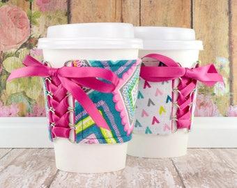 Coffee Cup Sleeve // Boho Geo Cup Cozy // adjustable // reversible // reusable // eco-friendly // gift // to go cup cozy // tumbler cozy //