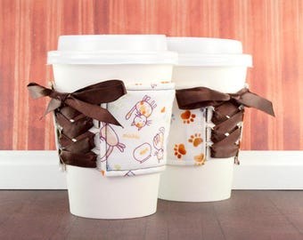 Coffee Cup Cuff // Kitty Cat and Paw Prints Cup Cozy // adjustable // reversible // coffee cozy // cat lover gifts // fabric coffee cozy