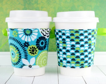 Coffee Cup Cozy // Flower Frolic Cup Cozy // reversible // adjustable // reusable coffee sleeve // beverage cozy // ice cream cozy