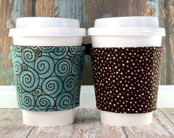 Corset Cup Sleeve // Aqua Chocolate Swirl Cup Cozy // reversible // adjustable // reusable // eco-friendly // to go cup cozy // tumbler cozy
