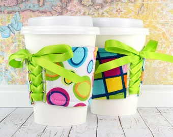 Corset Coffee Cozy // Another Iota Cup Cozy // adjustable // reversible // coffee lover // teacher gifts // eco-friendly // reusable