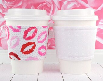 Drink Cup Holder // Hugs & Kisses Cup Cozy // reversible // adjustable // hostess gifts // lipstick // coffee cozy // reusable // beverage