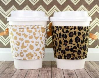 Corset Coffee Cup Cozy // Animal Instinct Cup Cozy // reversible // adjustable // reusable coffee sleeve // beverage cozy // to go cup cozy