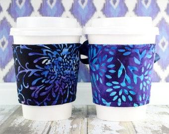Coffee Cup Cozy // Midnight Garden Cup Cozy // reversible // adjustable // corset cup cozy // cold drink cup cozy // ice cream cozy