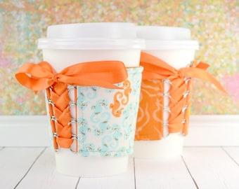 Corset Cup Cozy // Under the Sea Cup Cozy // reversible // adjustable // fabric coffee cozy // reusable coffee cozy // coffee cup cozy