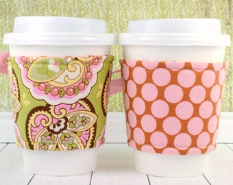 Beverage Cozy Corset // Lotus Paisley Cup Cozy // reversible // adjustable // paisley // polka dot // tea lover // gifts for friends