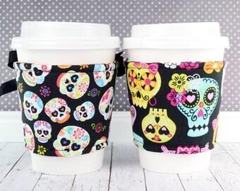 Sugar Skull Cup Cozy // Sugar Skulls Cup Cozy // reversible // adjustable // hearts // skulls // reusable // cold drink cozy