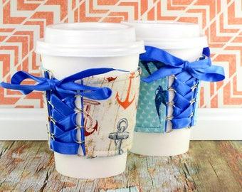 Drink Cup Cozy // Rockabilly Sailor Cup Cozy // adjustable // reversible // coffee cozy // reusable // eco-friendly // rockabilly gifts