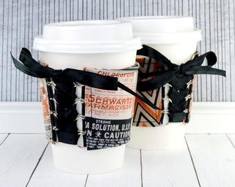 Beverage Corset Sleeve // Probably Poison Cup Cozy // adjustable // reversible // ice cream cozy // reusable // eco-friendly // coffee lover