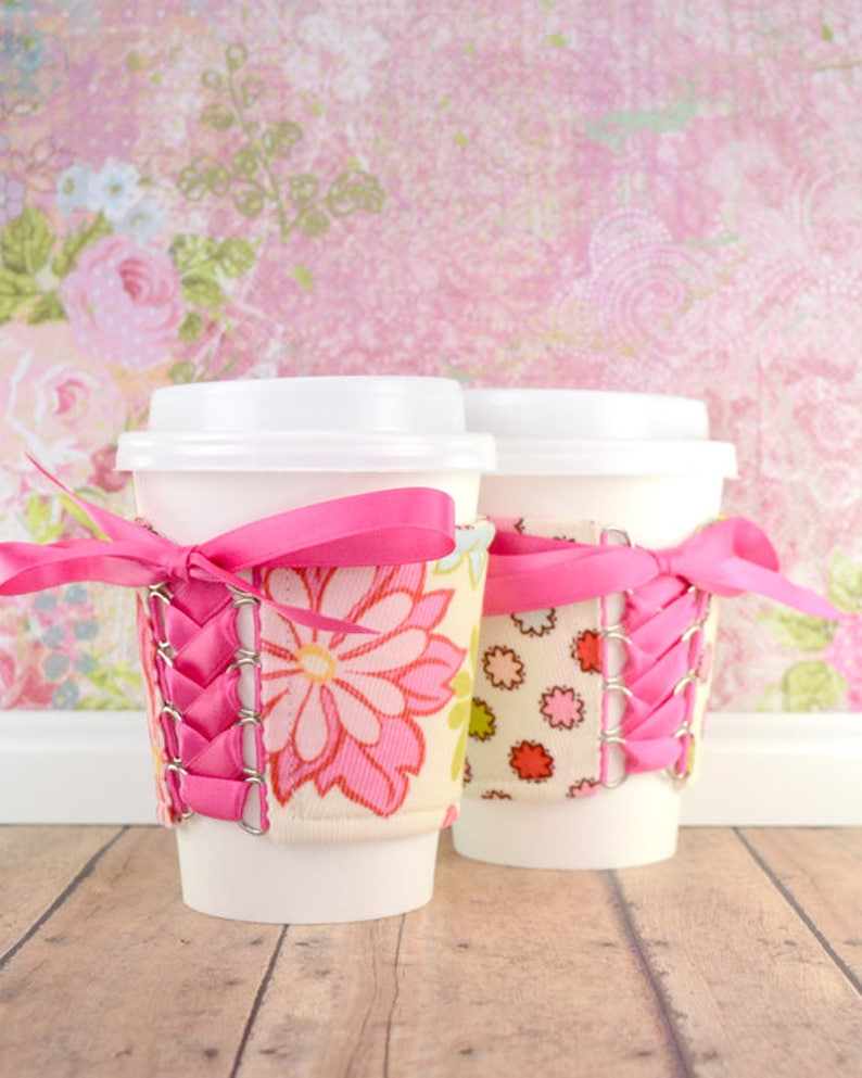 Coffee Cup Cuff  Ginger Blossom Cup Cozy  reversible  adjustable  cold drink cozy  ice cream cozy  drink sleeve  reusable