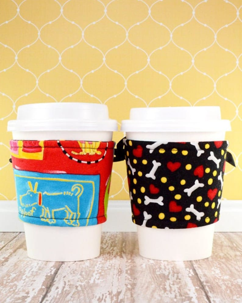 Coffee Cup Cuff // Dog Gone Cute Cup Cozy // reversible // image 0