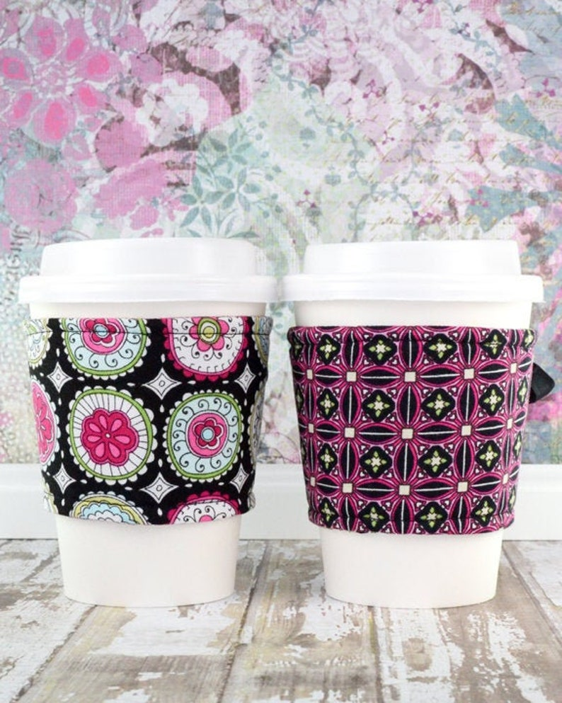 Coffee Cup Cuff // Floral Medallion Kaleidoscope Cup Cozy // image 0