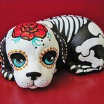 Day of the Dead DOG Statue Skeleton Puppy Figurine Pet Memorial Shrine - CUSTOM by Illustrated Ink - Made to Order