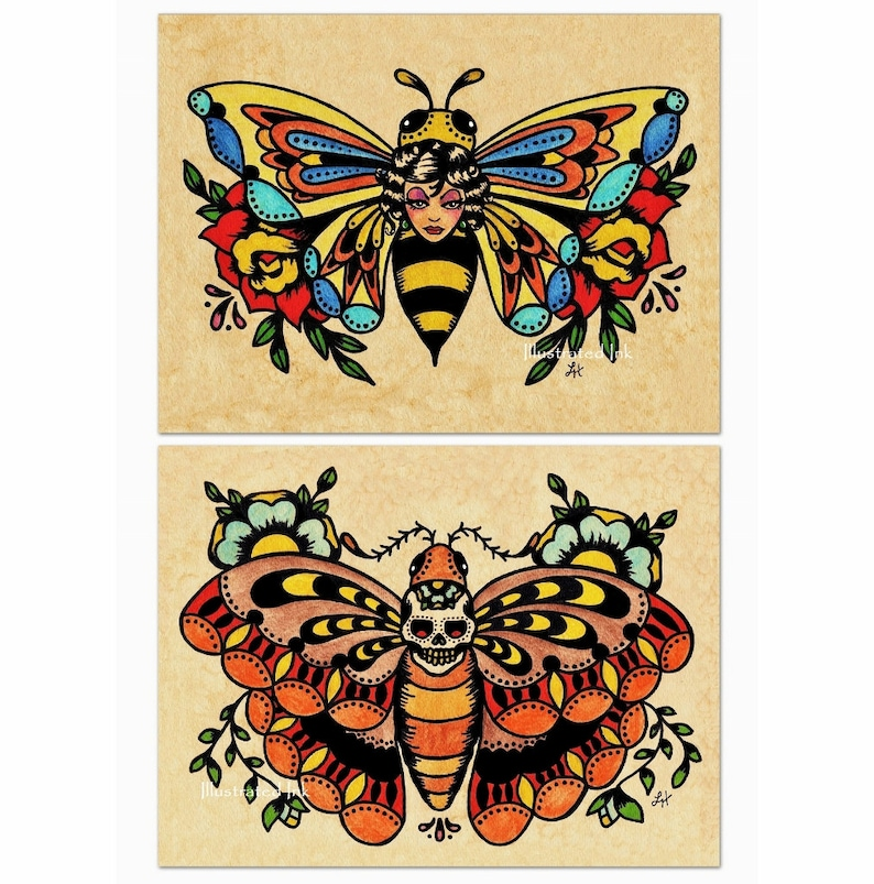 998c0eb904cc6 Old School Tattoo Art Flash BEE Butterfly & Skull MOTH Prints | Etsy