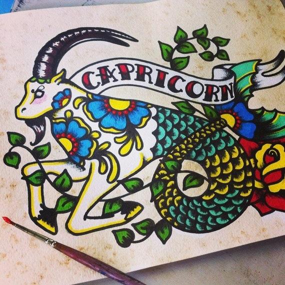 Sztuka Tatuaż Znak Zodiaku Koziorożec Koza Astrologia Print 5 X 7 8 X 10 Lub 11 X 14