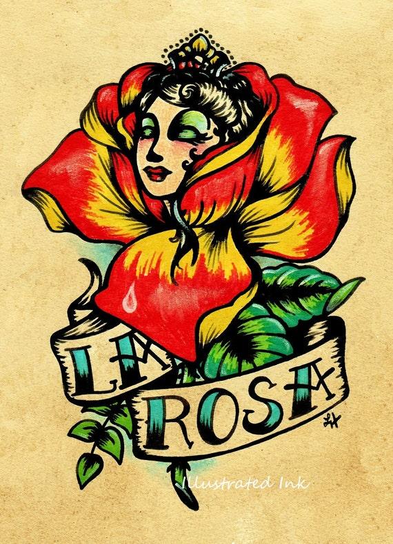 Old School Tattoo Rose Art La Rosa Loteria Print 5 X 7 8 X 10 Etsy