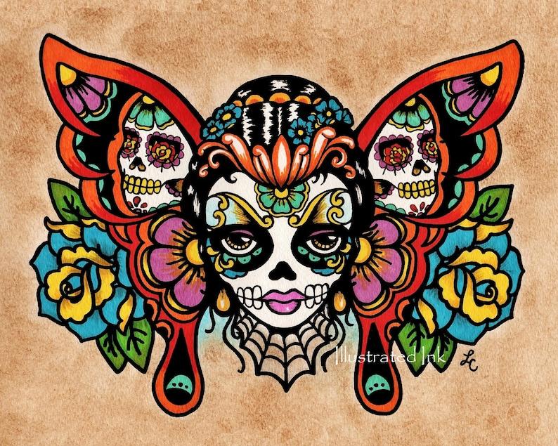 cc51dace3b7a1 Day of the Dead Sugar Skull BUTTERFLY Old School Tattoo Art | Etsy