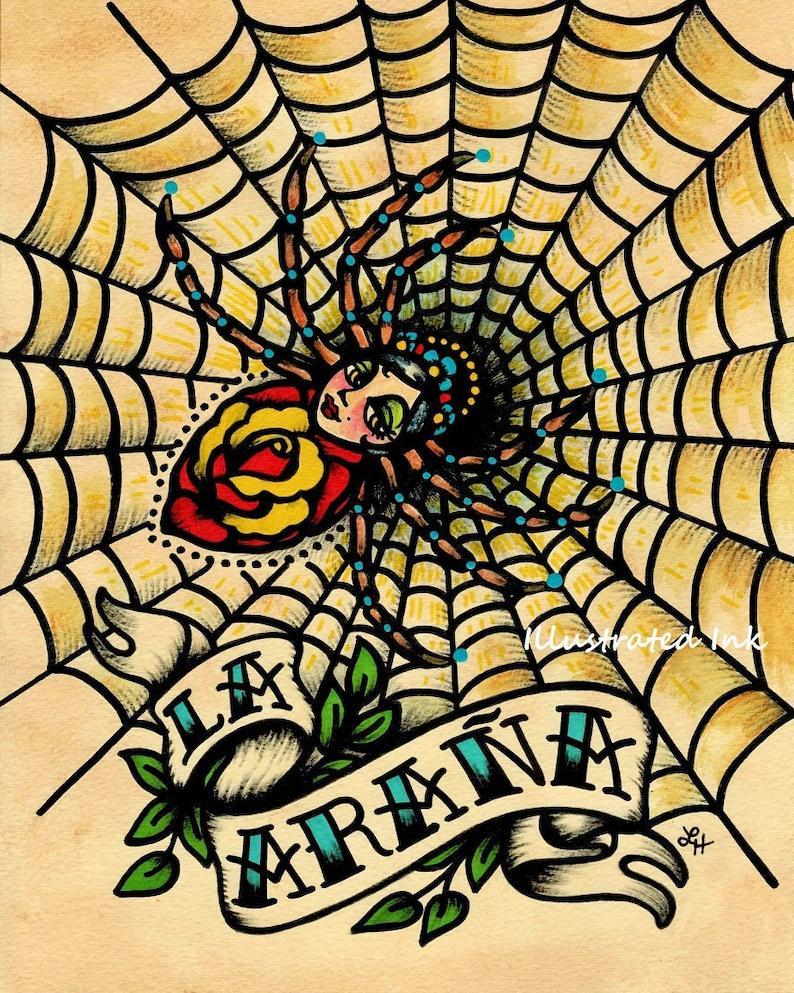 Old School Tattoo Art Spider LA ARANA Loteria Print 5 x 7 8 x | Etsy