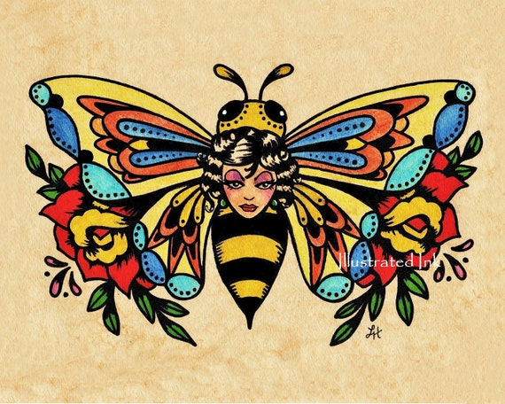 Old School Tattoo Art Bee Beauty Butterfly Print 5 X 7 8 X 10 Etsy