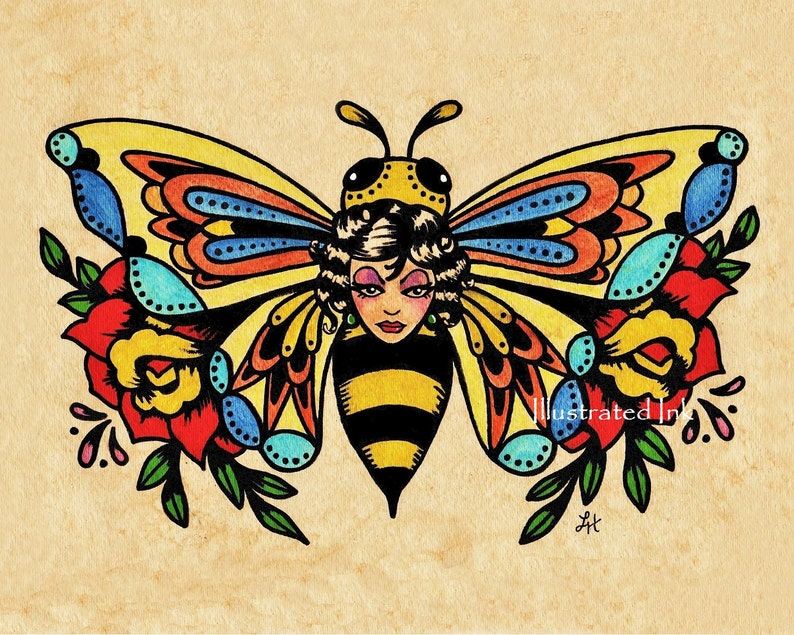 fd1ba3b5e18bd Old School Tattoo Art BEE Beauty Butterfly Print 5 x 7 8 x 10 | Etsy