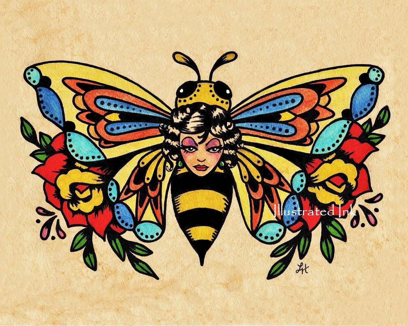 Old School Tattoo Art BEE Beauty Butterfly Print 5 x 7 8 x 10 | Etsy