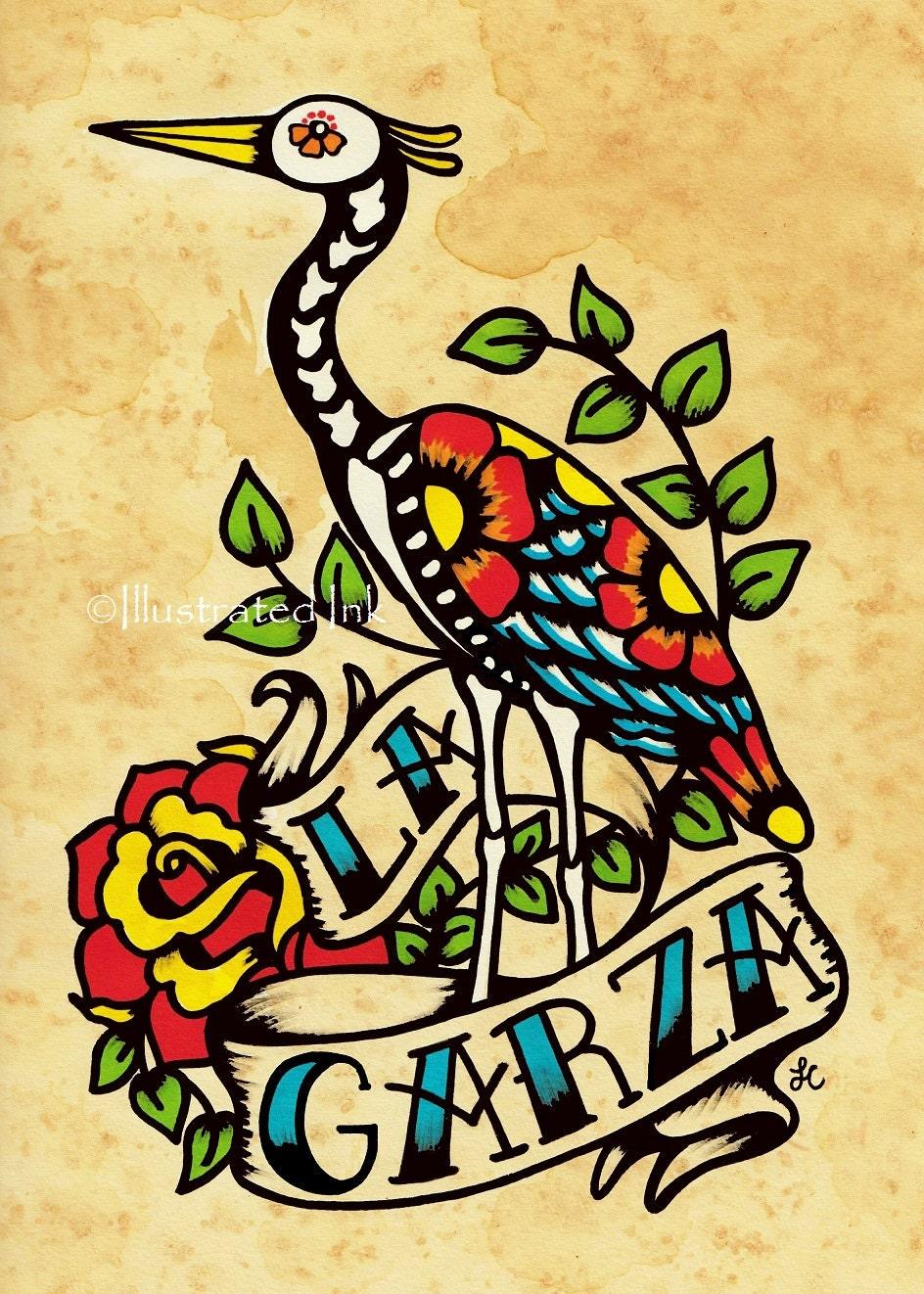 Day of the Dead Tattoo Art LA GARZA Loteria Print 5 x 7 8 x   Etsy