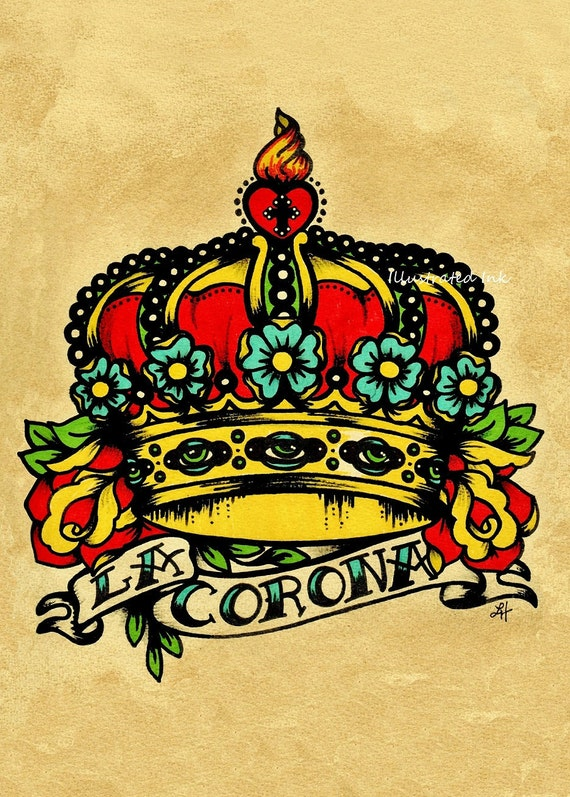 old school tattoo art couronne la corona loteria impression 5   etsy