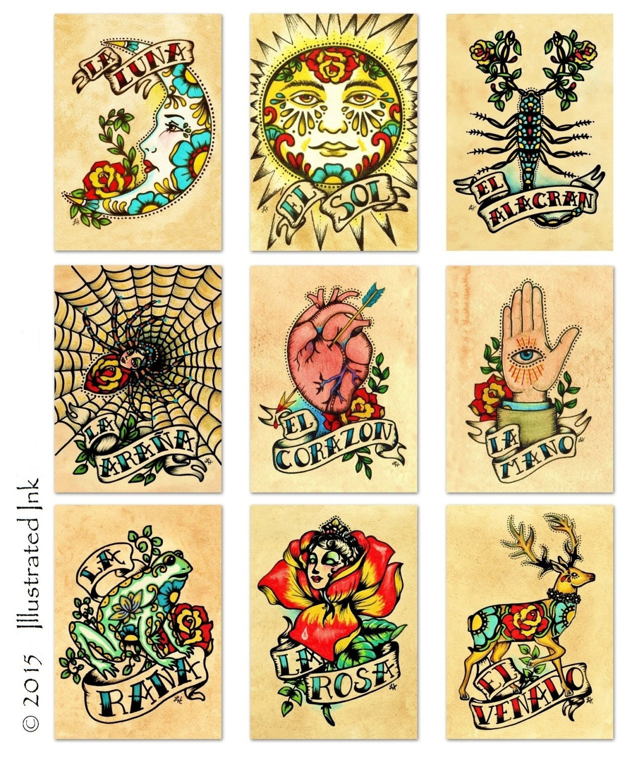Old School Tattoo Art Prints Mexican Loteria SET of 9 Designs | Etsy