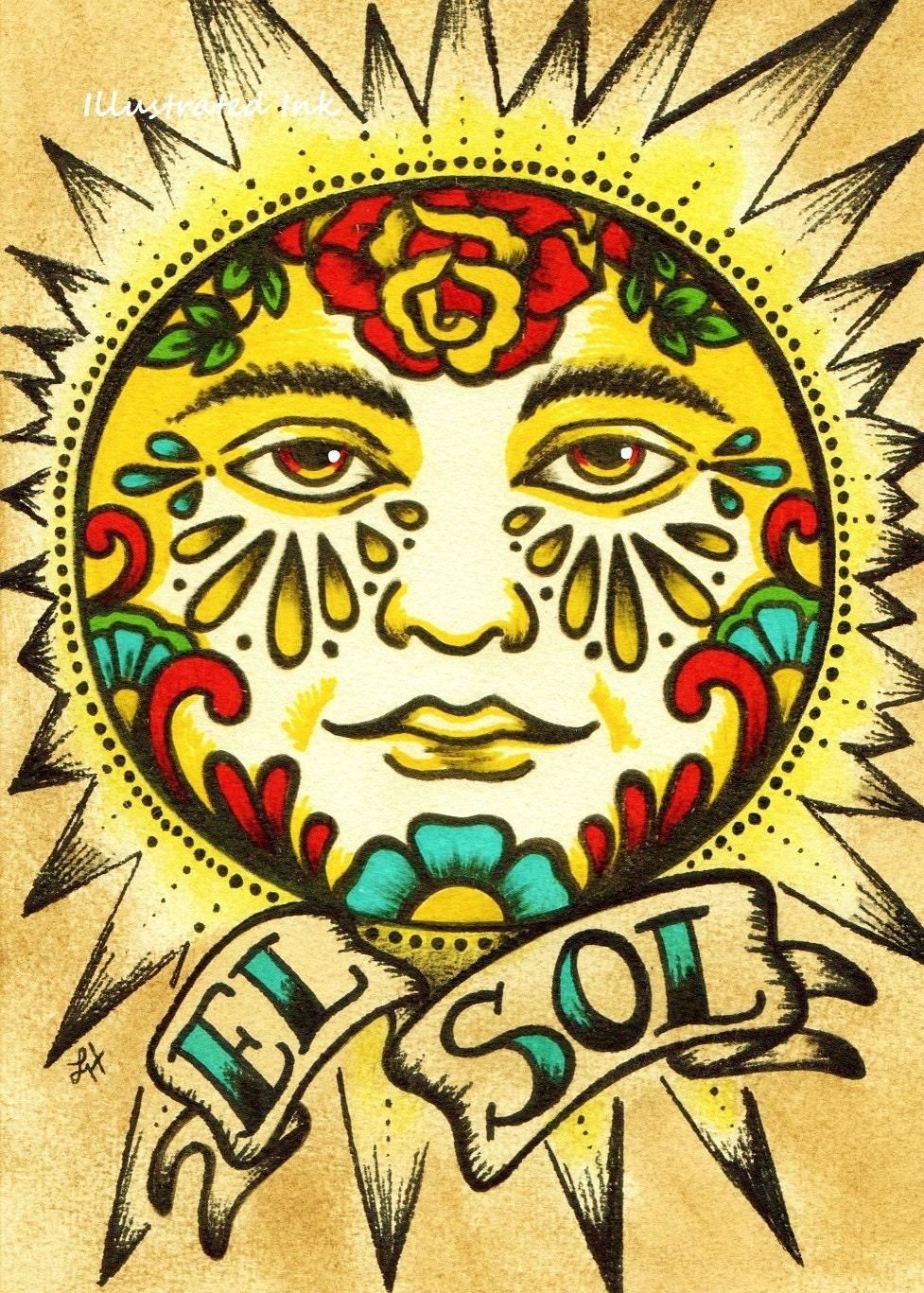 Mexican Folk Art Sun EL SOL Loteria Print 5 x 7 8 x 10 or 11 | Etsy