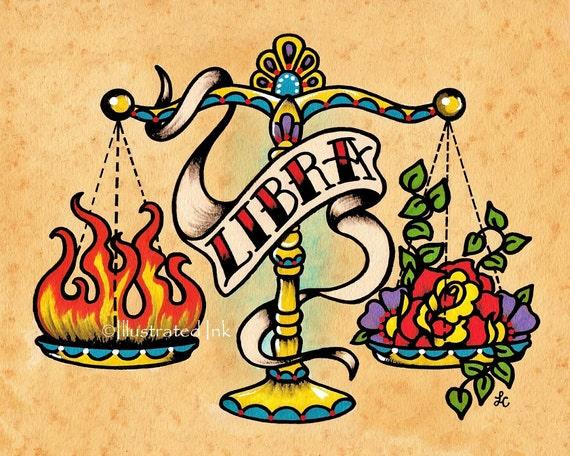 Zodiac Old School Tattoo Art Libra Scales Astrology Print 5 X Etsy