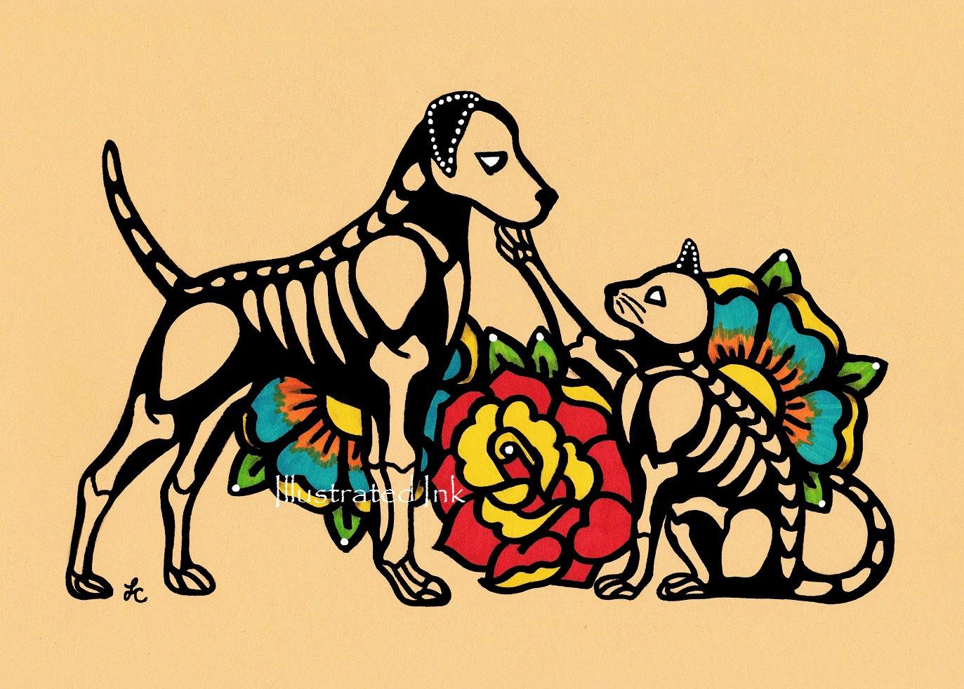 Dia de los Muertos DOG and CAT Day of the Dead Art Print 5 x   Etsy