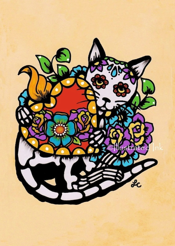 Day Of The Dead Cat Tattoo Sacred Heart Dia De Los Muertos Art Print 5 X 7 8 X 10 Or 11 X 14 Donation To Shelter