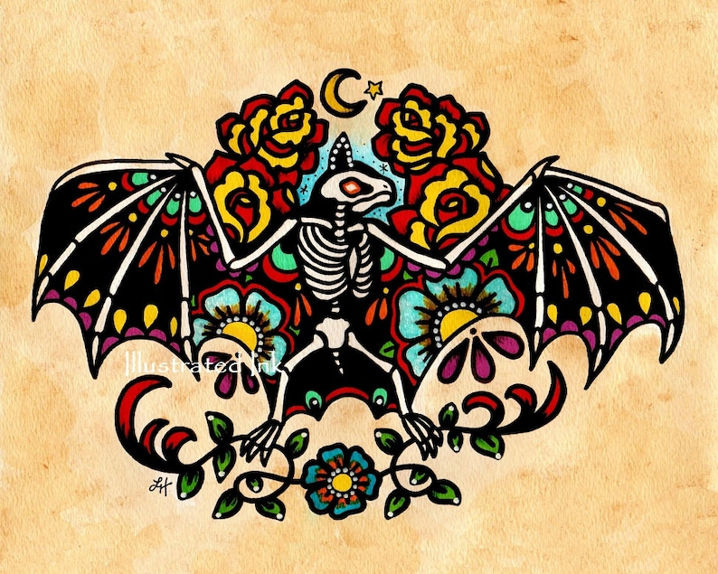 Old School Tattoo Skeleton BAT Day of the Dead Art Print 5 x image 0