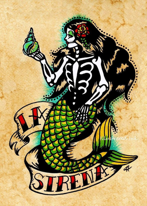 6dcf96f2a Day of the Dead Mermaid Tattoo Art LA SIRENA Loteria Print 5 x   Etsy