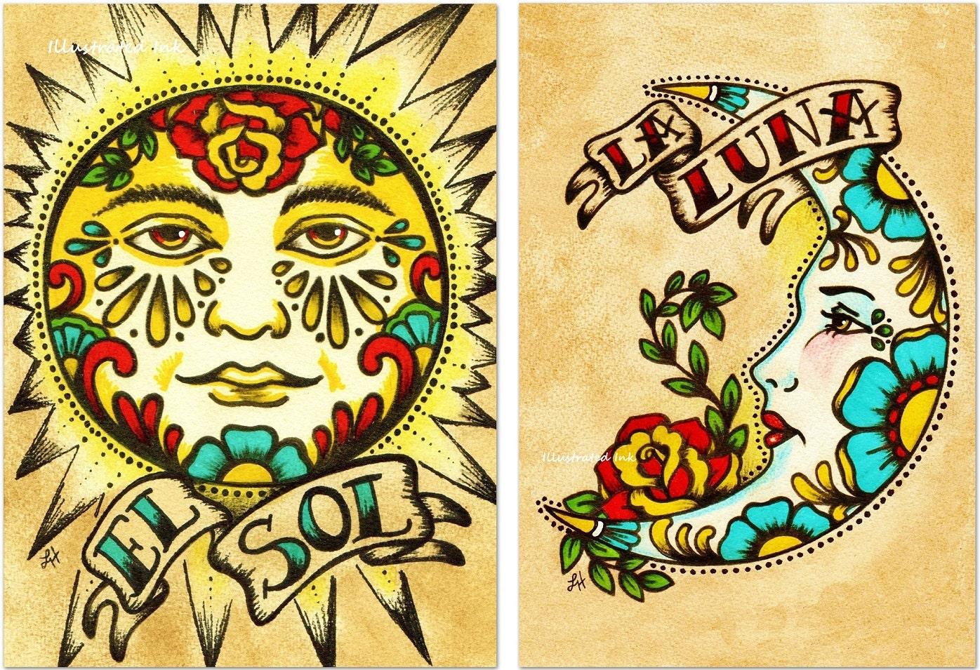Mexican Folk Art Prints Sun Moon Loteria El SOL & LA LUNA 5 x | Etsy