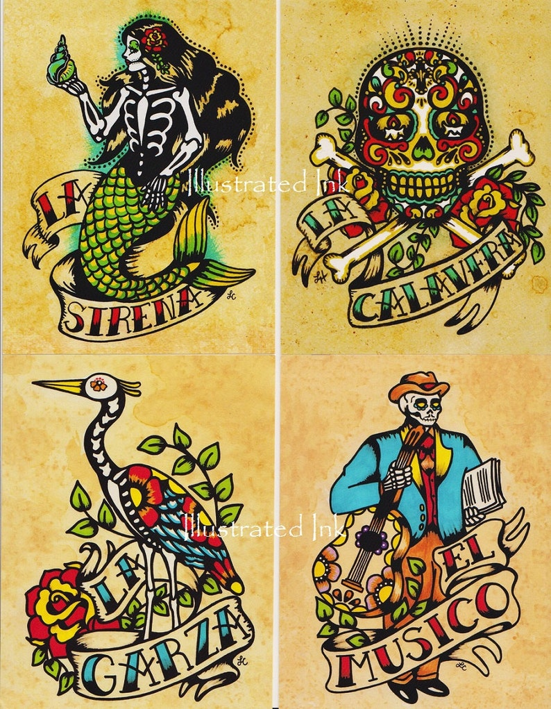 Set of 8 Designs Day of the Dead Art POSTCARDS Mexican Loteria Tattoo Art